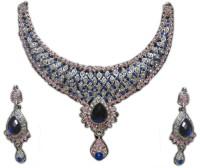 Zaveri Pearls Classic Necklace Zinc Jewel Set Blue, White