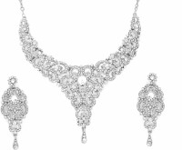 Zaveri Pearls Designer Austrian Diamond Necklace Alloy Jewel Set Silver