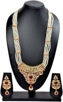 Akshada Creation Gold Antique Finish Alloy Jewel Set Pink