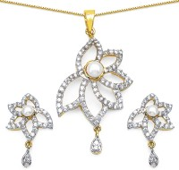 Johareez 15.34 Grams White Synthetic Pearl & White Cubic Zirconia Gold Plated Brass Brass Jewel Set White