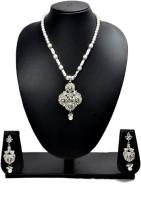 Akshada Creation Silver Antique Finish Alloy Jewel Set White