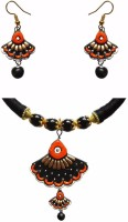 Chhayamoy Terracotta Jewel Set Black, Orange, White, Gold