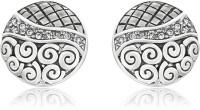 Mahi Royal Rhodium Plated Crystal Brass, Alloy Stud Earring