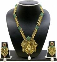 Zaveri Pearls Ganesha Long Zinc Jewel Set Green, White