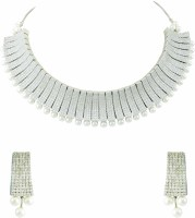 The Art Jewellery Designer CZ In Rhodium Finish Brass Jewel Set White