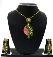 Zaveri Pearls Antique Hand Painted Phool Baati Pendant Zinc Jewel Set Multicolor