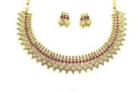 Zaveri Pearls Temple Necklace Zinc Jewel Set Red