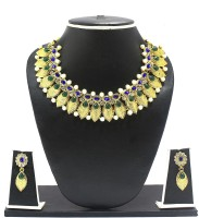 Zaveri Pearls Antique Petals Alloy Jewel Set Blue, Green, White
