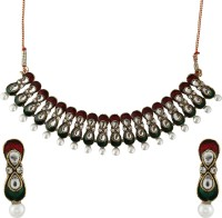 Asmara Splendid Enamelled Kundan And Pearls Alloy Jewel Set Multicolor