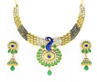Zaveri Pearls Peacock Designer Alloy Jewel Set Green, Blue, White