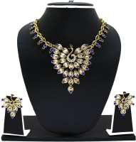Zaveri Pearls Glory Peacock Necklace Zinc Jewel Set White, Blue