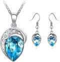 Cyan Leaf Design Ocean Blue Crystal Jewelry Set Alloy Jewel Set - Blue