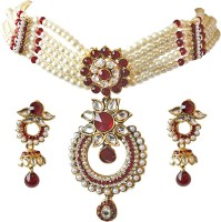 Surat Diamond Traditional Red & White Stones & 5 Line Shell Pearl Fashion Jewellery Set (PS280) Metal Jewel Set Multicolor