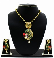 Zaveri Pearls Matte Finish Hand Painted Peacock Swirl Pendant Zinc Jewel Set Multicolor
