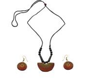 Alekip Terracotta Designer Small Thread Ceramic Jewel Set Multicolor