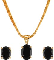 Weldecor Stone Pendant Set With Earrings Alloy Jewel Set Black