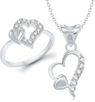 VK Jewels VK Jewels Double Heart Shape Combo Ring & Pendant Alloy Jewel Set (Silver)