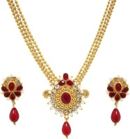 Zaveri Pearls Rani Necklace Zinc Jewel Set Red
