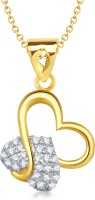VK Jewels Charming Heart Shape 18K Yellow Gold Plated Cubic Zirconia Alloy Pendant