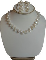 Sri Bansilal Pearls White Pearls Zig Zag Mother Of Pearl Jewel Set White