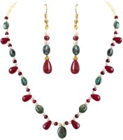 Surat Diamond Surat Diamonds Real Oval Green Emerald, Red Drop Ruby & Beads & Freshwater Pearl Necklace Earring Set For Women Metal Jewel Set (Green, Red, White)
