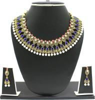 Zaveri Pearls Stone Embellished Antique Necklace Alloy Jewel Set Blue, Pink, White