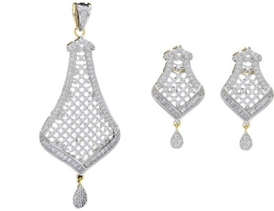 Shree Ambica Pearls & Jewellers Silver Cz Pendant With Earrings Alloy Jewel Set available at Flipkart for Rs.2017
