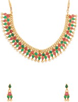 Voylla Traditional Gold Plated Adorned With Pearls And Color Stones Alloy Jewel Set Gold