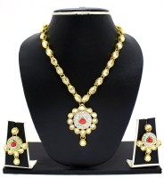 Zaveri Pearls Rani Necklace Zinc Jewel Set Pink, White
