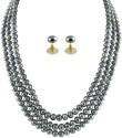 Jpearls 3 Strings Grey Pearl Mother Of Pearl Jewel Set
