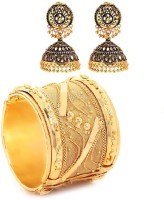 GoldNera Antique Jhumki Er & Big Cuff Combo Alloy Jewel Set Gold