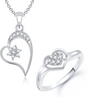 VK Jewels VK Jewels Star Heart Shape Combo Ring & Pendant Alloy Jewel Set (Silver)