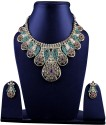 Shining Diva Traditional Alloy Jewel Set - Purple, Green, Gold