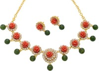 Pearls Cart Flower Coral Stone Studded Necklace Alloy Jewel Set Multicolor