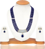 American Diamond Beautiful Copper, Brass Jewel Set White, Gold, Blue
