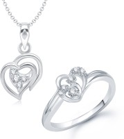 VK Jewels VK Jewels Admirable Heart Shape Combo Ring & Pendant Alloy Jewel Set (Silver)