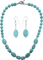 Pearlz Ocean Turquoise Color Howlite Beads 18 Inches Designer Necklace With Freebie Alloy Jewel Set (Turquoise)