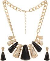 Lazreena Traditionaly Designed Necklace Set Stone Jewel Set Gold, Black