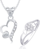 VK Jewels VK Jewels Two Heart Shape Combo Ring & Pendant Alloy Jewel Set (Silver)