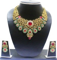Zaveri Pearls Amazing Carved Zinc Jewel Set Green, White, Red