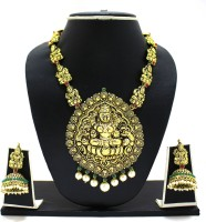 Zaveri Pearls Temple Cavred & Pearl Drop Necklace Zinc Jewel Set Red