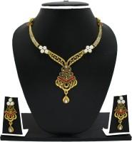 Zaveri Pearls Lightweight Antique Necklace Zinc Jewel Set Orange, White