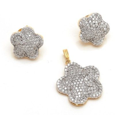 Sagun Real Diamond Look Flower Shape Ad Pendant Brass Jewel Set Silver available at Flipkart for Rs.1700