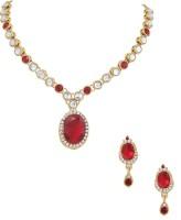 Akshada Creation Kundan Stone Finish Alloy Jewel Set Maroon, White
