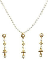 AJ 18K Yellow Gold Plated Cubic Zirconia White Pearl Alloy, Brass Jewel Set White