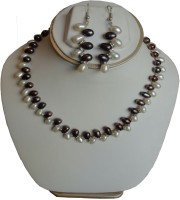 Sri Bansilal Pearls Black &White Pearls Mother Of Pearl Jewel Set Black