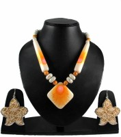 Uni Fashion Fair Designer Necklace Earring Brass, Alloy Jewel Set Orange