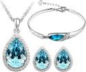 Cyan Crystal Teardrop style crystal jewelry set Combo with charming bracelet Alloy Jewel Set - Blue