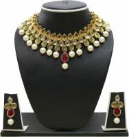 Zaveri Pearls Stone Embellished Antique Necklace Zinc Jewel Set Red, Green