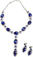 Akshada Creation Silver Antique Finish Alloy Jewel Set Blue
